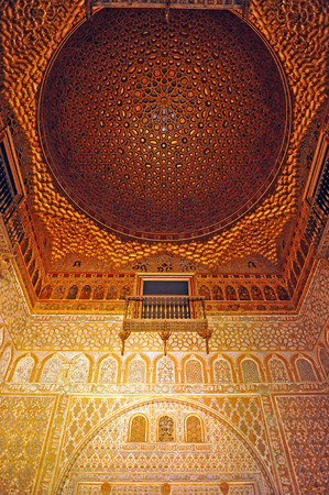 ambassadors: Dome of the Hall of Ambassadors, Alcazar Palace in Seville, Andalusia, Spain