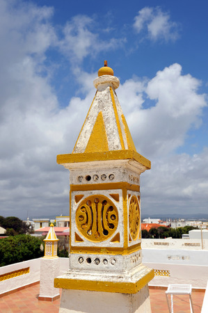 region of algarve: Typical chimney in the region of Algarve, Culatra Island, the south of Portugal, Europe