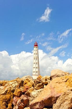 Maritime lighthouse, Culatra Island, region of Algarve, southern Portugal, Europe Stock Photo - 26055969