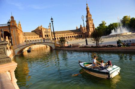 barque: Barque ride, panoramic View of the Plaza de Espana, Seville, Spain, Europe