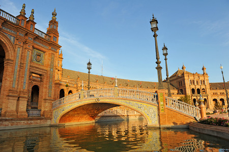 bridge over water: Ceramic bridge over water, view of the Plaza de Espa�a, Seville, Spain, Europe
