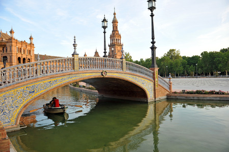 barque: Barque ride, panoramic View of the Plaza de Espa�a, Seville, Spain, Europe