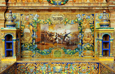 Tiled bench of the province of Madrid, Plaza de Espa�a, Seville, Spain, Europe