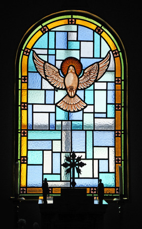 stained glass church: The Holy Spirit, stained glass, church of Guadalupe, El Bosque, white villages of the Sierra de Cadiz, Andalusia, Spain