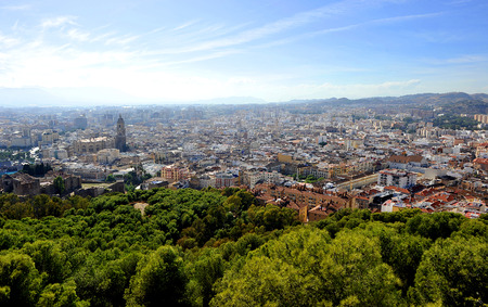 Panoramic view of the city of Malaga from the Gibralfaro castle, Andalusia, Spain