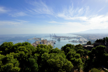 Panoramic view of the port of Malaga from the Gibralfaro castle, Andalusia, Spain photo