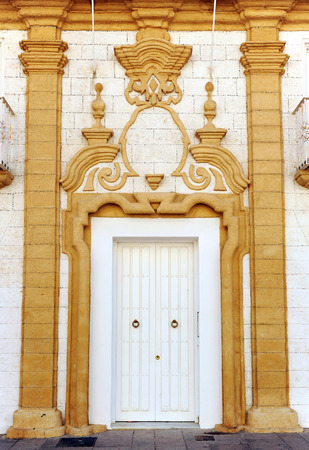 palatial: Baroque architecture, palatial house, streets of San Fernando, Cadiz Province, Andalusia, Spain Stock Photo