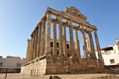 Roman temple dedicated to the goddess Diana, Merida, Badajoz Province, Extremadura, Spain