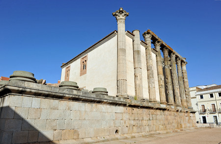 Roman temple dedicated to the goddess Diana, Merida, Badajoz Province, Extremadura, Spain photo