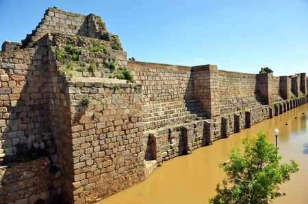 the humanities landscape: Arab citadel of Mérida, near the Guadiana river Stock Photo