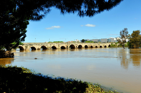 badajoz: Panoramic view of the Roman bridge of Merida, Guadiana river, Badajoz Province, Extremadura, Spain