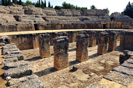 Ruins of the amphitheater of Italica, santiponce, province of Sevilla, Andalusia, Spain photo