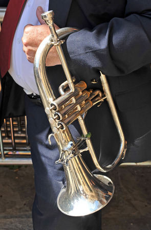 flugelhorn: Musician in a band with flugelhorn, Andalusia, Spain