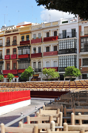 holy week in seville: Tribunes of the official route, Square San Francisco, Holy week, Seville, Andalusia, Spain