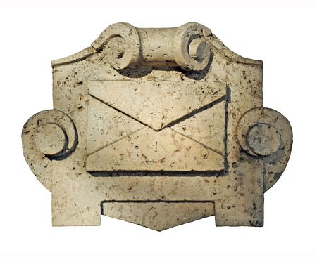 private domain: Post mailbox marble, official building, isolated, silhouetted