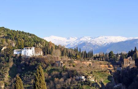 Generalife Gardens, Palace of the Alhambra in Granada viewed from the Mirador de San Nicolas, Granada, Andalusia, Spain