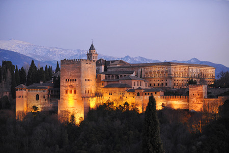 nicolas: Alhambra Palace of Granada illuminated at night, Mirador de San Nicolas, Granada, Andalusia, Spain