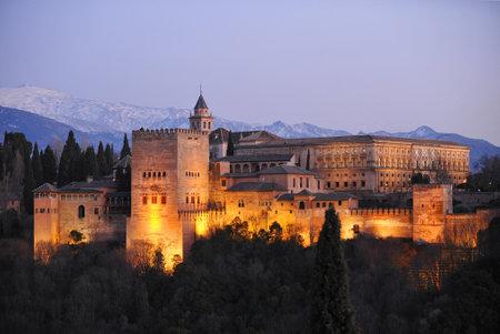 Alhambra Palace of Granada illuminated at night, Mirador de San Nicolas, Granada, Andalusia, Spain