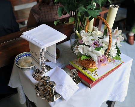 liturgical: Liturgical objects prepared for a religious ceremony