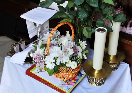 liturgical: Liturgical objects prepared for a Catholic ceremony Stock Photo