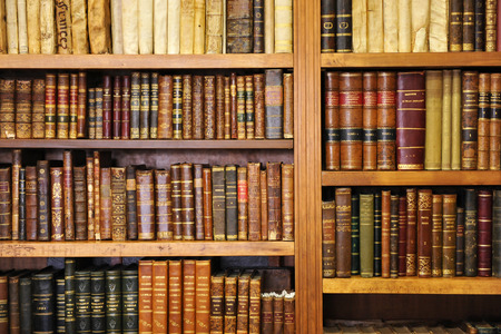 old letters: Shelf of old books, bookstore, library