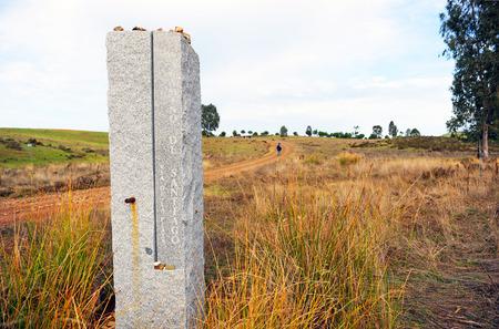 monolith: Monolith of the Camino de Santiago, Via de la Plata, Finca El Berrocal, Sierra Norte de Sevilla, Andalusia, Spain
