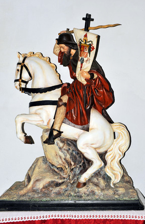 Sculpture of St  James on the white horse