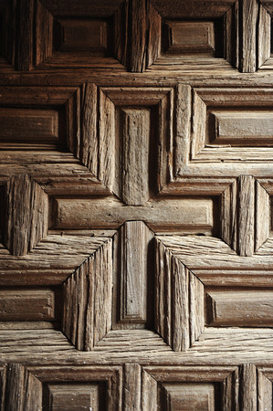 Old wooden gateway, church of Almagro, Ciudad Real province, Spain photo