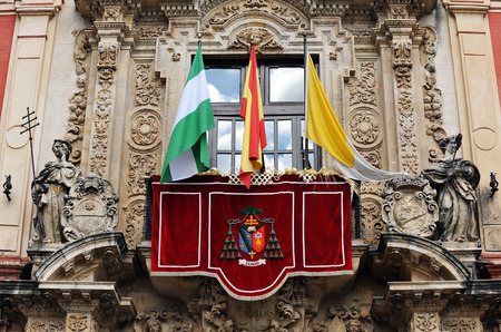 Balcony decorated for a religious holiday, Holy week, Archiepiscopal palace, Seville, Andalusia, Spain