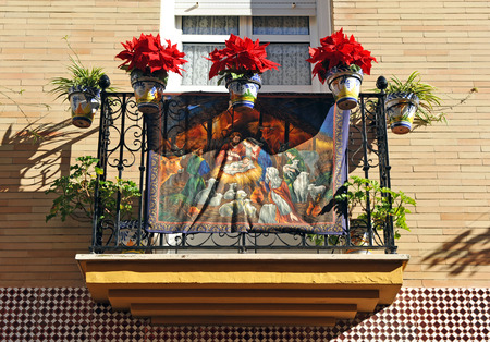 Balcony decorated for a religious holiday, Christmas, Triana, Seville, Andalusia, Spain