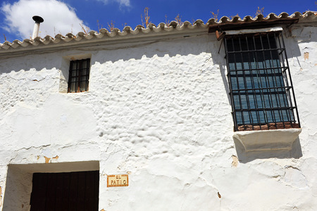 whitewashed: Facade of a typical Andalusian whitewashed house, Andalusia, Spain