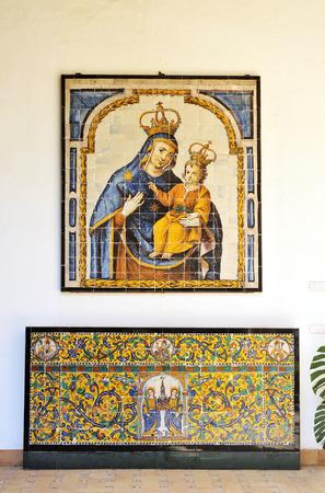 retablo: Retablo cer�mico con la Virgen, frontal de altar de azulejos, Sevilla, Andaluc�a, Espa�a