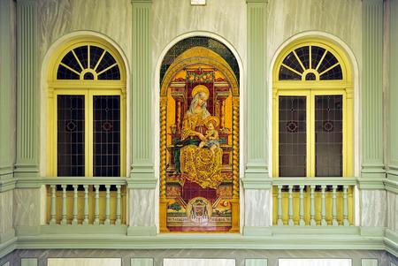 retablo: Palacio Episcopal, azulejos retablo religioso, Virgen Mar�a, Ciudad Real, Castilla la Mancha, Espa�a