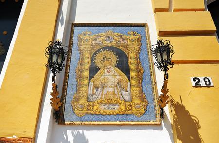 retablo: Retablo cer�mico de la Virgen del Rosario, Sevilla, Andaluc�a, Espa�a