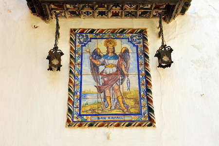 retablo: San Rafael Arc�ngel, azulejos retablo religioso, provincia de Sevilla, Andaluc�a, Espa�a