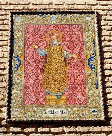 retablo: San Felipe Neri, azulejos retablo religioso, Sevilla, Andaluc�a, Espa�a Editorial