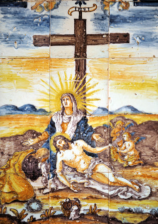 Jesus in the arms of his mother, Mercy, Via Crucis, religious altarpiece tiles, Cadiz, Andalusia, Spain