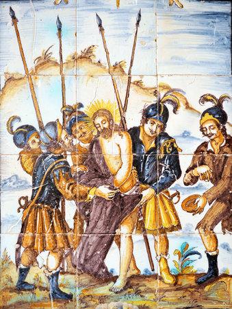 retablo: Jes�s despojado, V�a Crucis, azulejos retablo religioso, C�diz, Andaluc�a, Espa�a