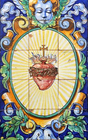 retablo: Sagrado Coraz�n de Jes�s, azulejos retablo religioso, Andaluc�a, Espa�a Editorial