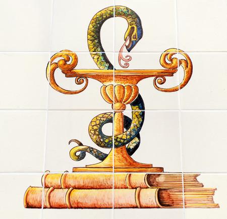 Pharmacie, symbole de pharmacien, tasse Higia Banque d'images - 28801534