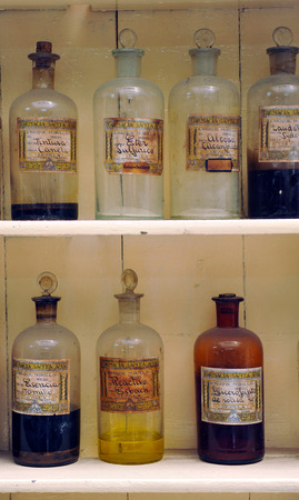 formulations: Glass jars, antique pharmacy, medicinal products