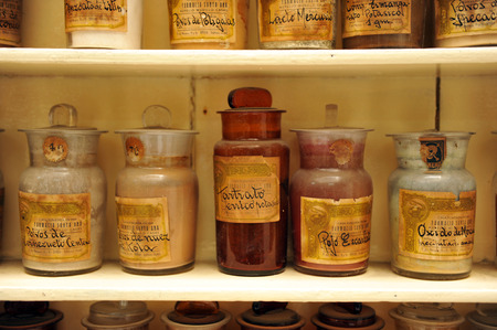 formulations: Glass bottles, antique pharmacy, medicinal products