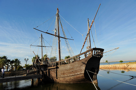 discovering: Caravel La Ni�a, Discovering America, the three caravels of Christopher Columbus, Palos de la Frontera, Huelva, Spain