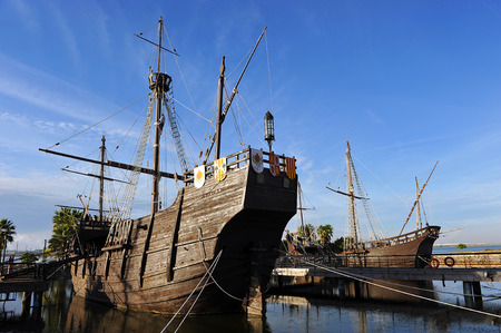 discovering: The three Christopher Columbus caravel, discovering America, Palos de la Frontera, Huelva province, Spain
