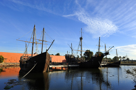 discovering: The three Christopher Columbus caravel, discovering America, Palos de la Frontera, Huelva, Spain