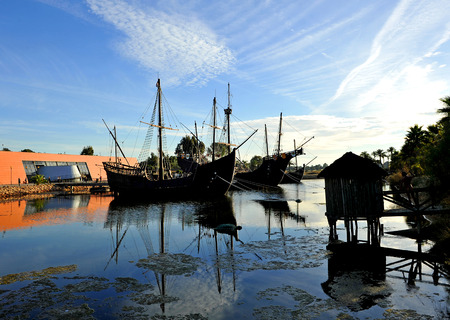 discovering: Discovering America, the three Christopher Columbus caravel, Palos de la Frontera, Huelva, Spain Stock Photo