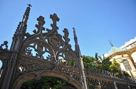 buttresses: Gothic wrought iron gate, cathedral of Granada, Andalusia, Spain