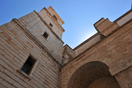 buttresses: Perspective, Tower of the cathedral of Ciudad Real, Castilla la Mancha, Spain