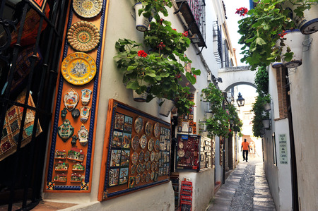jewish home: The alley of flowers, tourist neighborhood, Cordoba, Andalusia, Spain Editorial