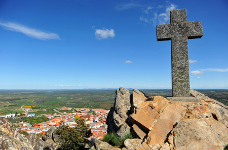 Alcuescar panoramic view from the stone crosstown in the province of Caceres, Extremadura, Spain photo